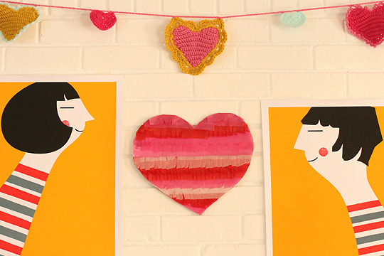 Valentine's Day Tissue Paper Fringe Heart Tutorial at Apartment Therapy via lilblueboo.com