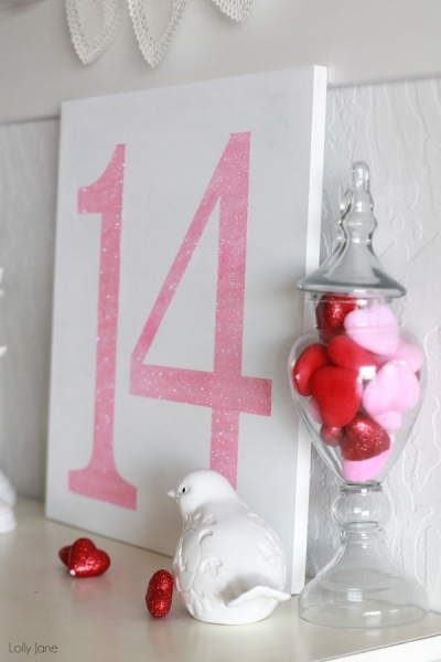 Easy Glitter Valentine's Day DIY Sign by Lolly Jane via lilblueboo.com
