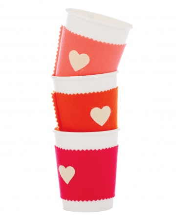 Valentine's Day Felt Coffee Cozy by Martha Stewart via lilblueboo.com