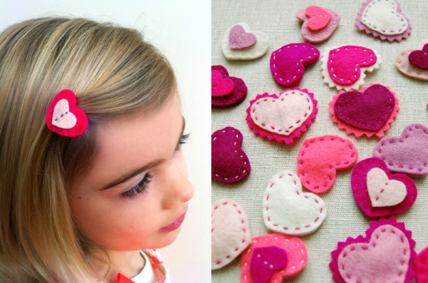Felt Valentine's Day Heart Hair Clips by Purl Bee via lilblueboo.com
