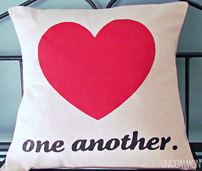 Love One Another Valentine's Day Heart Pillow DIY by Uncommon Designs via lilblueboo.com