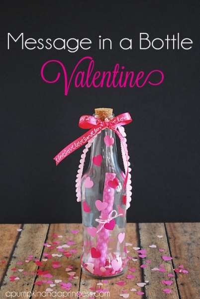 Message in a bottle Valentine's Day gift idea by A Pumpkin and a Princess via lilblueboo.com