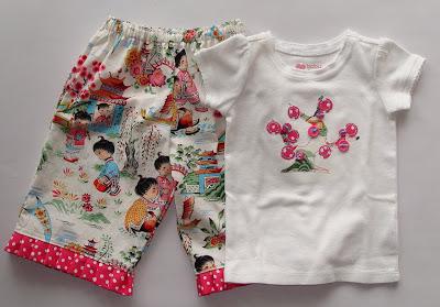 Applique Cherry Tree Shirt and Ruffle Pants via lilblueboo.com