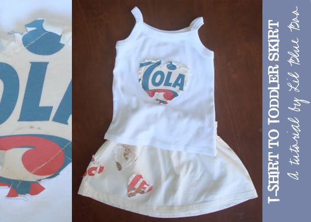 Recycle your t-shirt into a toddler skirt (tutorial) via lilblueboo.com