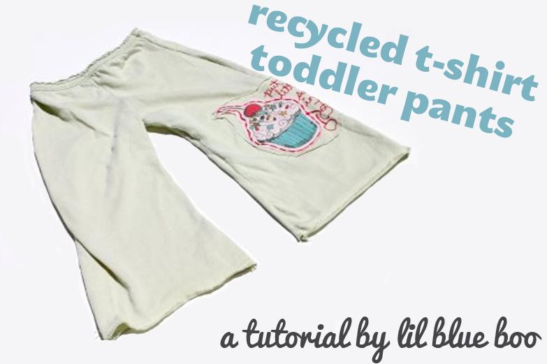 Recycled T-Shirt Toddler Pants & Gauchos via lilblueboo.com