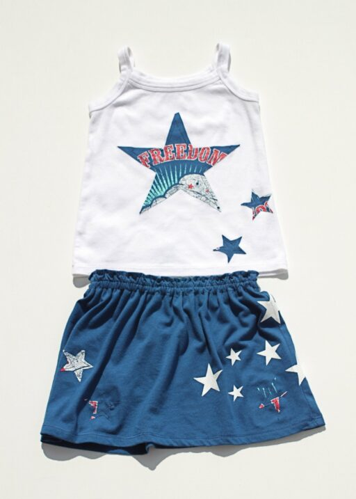 Make A Skirt from a T-Shirt - 4th of July T-shirt Toddler Skirt