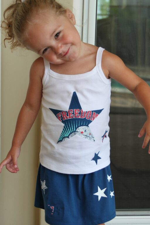 How to make a toddler shirt and skirt from an adult t-shirt