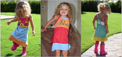 Recycled T-Shirt Halter / Tie Back Dress ePattern 3 via lilblueboo.com