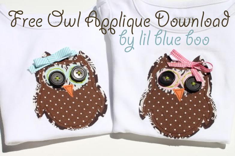 Free owl applique download via lilblueboo.com