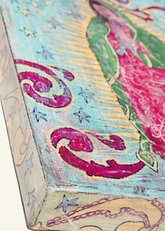 How to make a distressed folk art-style painting. DIY tutorial another pic via lilblueboo.com