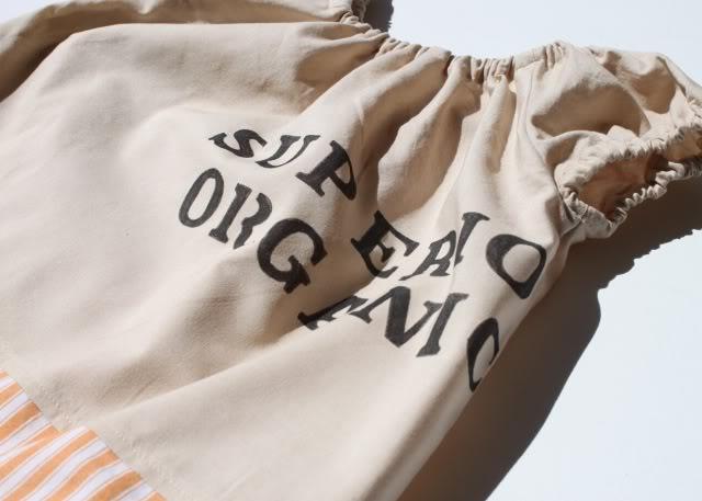 A Coffee Sack Dress lettering on back via lilblueboo.com