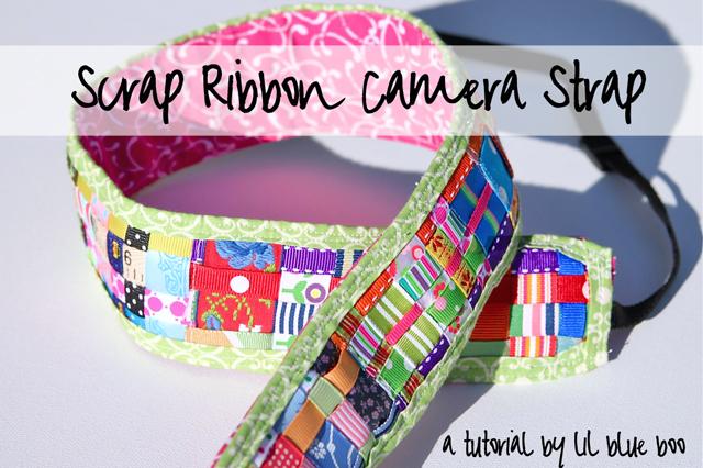 Scrap Ribbon Camera Strap DIY Tutorial via lilblueboo.com
