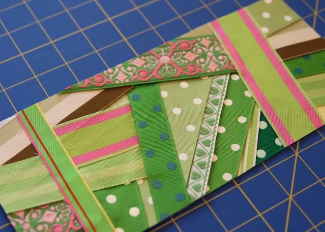 Scrap Ribbon Wallet/Clutch Tutorial step 3a via lilblueboo.com