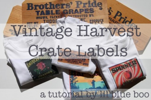 Vintage Harvest Crate Stamp / Label Patches DIY Tutorial via lilblueboo.com