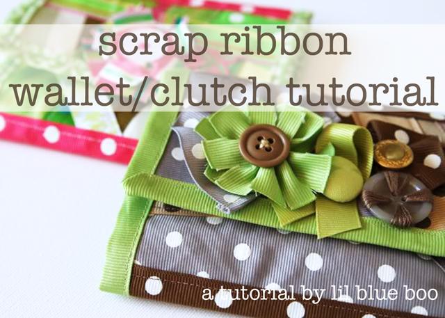Scrap Ribbon Wallet or Clutch DIY Tutorial via lilblueboo.com