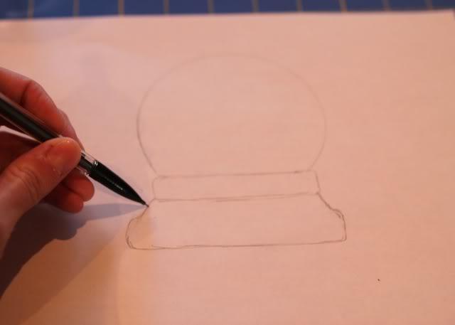 Snowglobe Shirt - Tutorial step 1a via lilblueboo.com