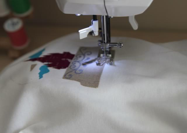 Snowglobe Shirt - Tutorial step 10 via lilblueboo.com