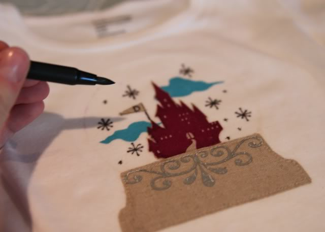 Snowglobe Shirt - Tutorial step 11 via lilblueboo.com