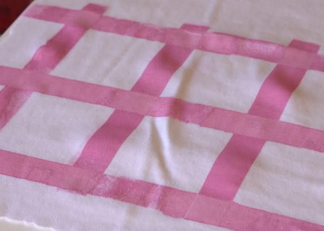 Using Contact Paper to Create a Distressed Plaid Design step 2a via lilblueboo.com