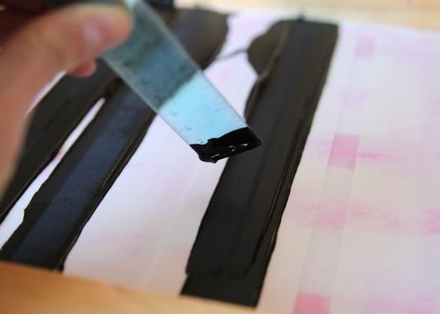 Using Contact Paper to Create a Distressed Plaid Design step 3a via lilblueboo.com