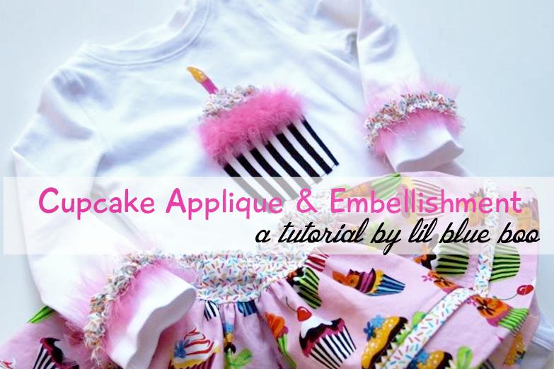 cupcake applique tutorial via lilblueboo.com