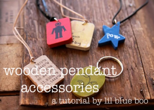 Wooden Pendant Necklaces (and Keychain) Tutorial via lilblueboo.com