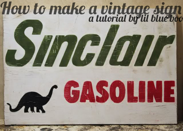 How to make a distressed vintage sign using canvas. DIY tutorial via lilblueboo.com