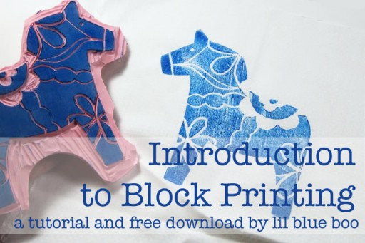 Swedish Dala Horse Block Print  - Tutorial and Image by Lil Blue Boo