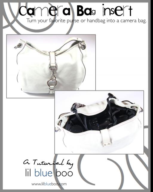 Camera bag insert for purse free tutorial pattern diy via lilblueboo.com