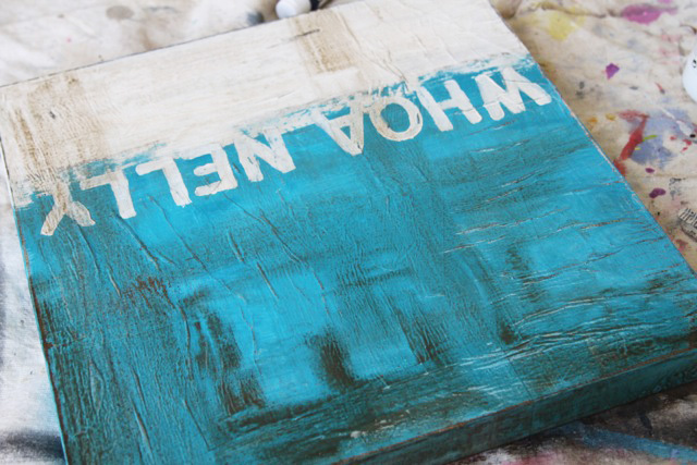 How to make distressed painting using collage and glazing. DIY tutorial via lilblueboo.com