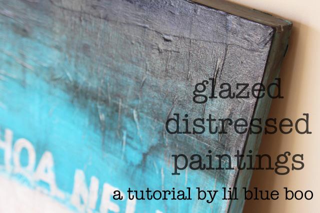 Blue Canvas Art Diy: Glazed, Distressed Paintings (A Tutorial