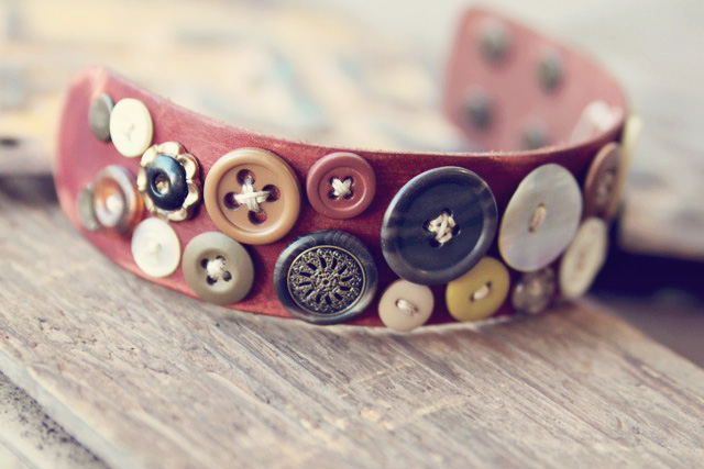 Bohemian Leather Button Cuff DIY Tutorial via lilblueboo.com