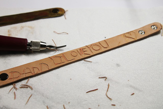 Great git idea for Dad: Carved leather bracelets tutorial diy via lilblueboo.com