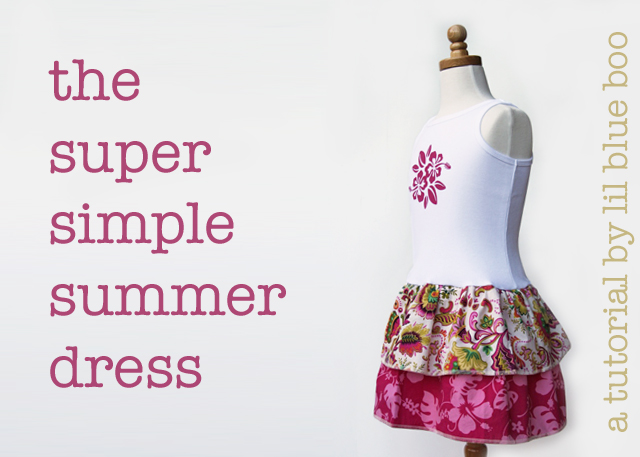 Super Simple Summer Dress using a tank top. DIY tutorial via lilblueboo.com