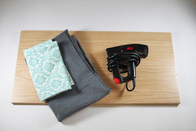 Supplies for a tabletop ironing board diy tutorial via lilblueboo.com