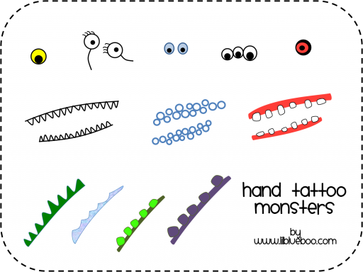 Monster Hand Tattoos DIY Tutorial and Free Download via lilblueboo.com