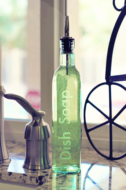 How to make an etched Dish Soap Dispenser Tutorial via lilblueboo.com