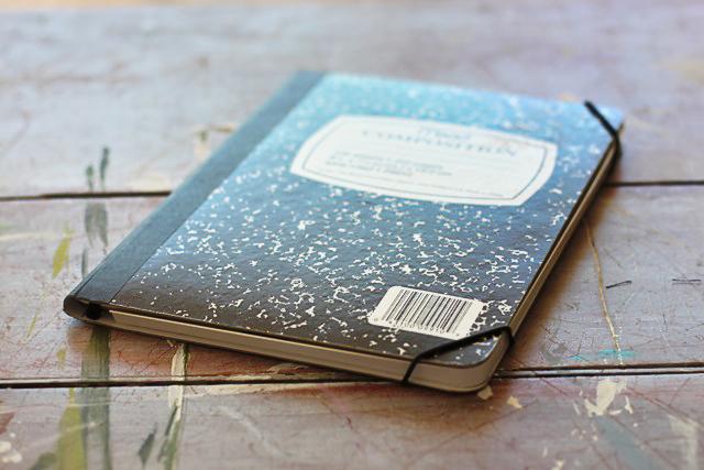 Turn a composition notebook into an iPad cover. DIY tutorial via lilblueboo.com