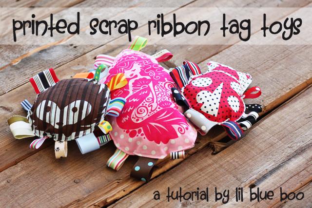 Printed Scrap Ribbon Baby or Dog Tag Toys DIY Tutorial via lilblueboo.com
