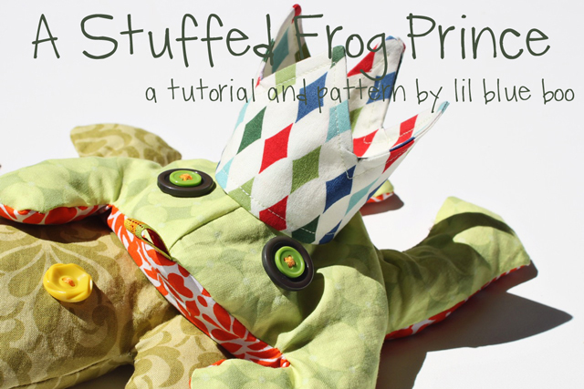 A Stuffed Frog Prince Free Pattern and Tutorial via lilblueboo.com