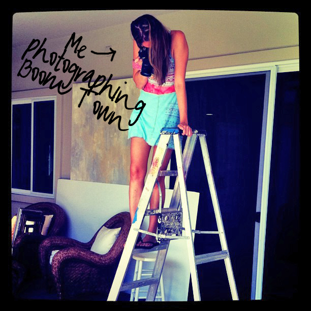 Behind the scenes Ashley on Ladder via lilblueboo.com