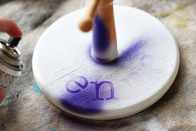Spraypaint over stencils = accessory holder via lilblueboo.com
