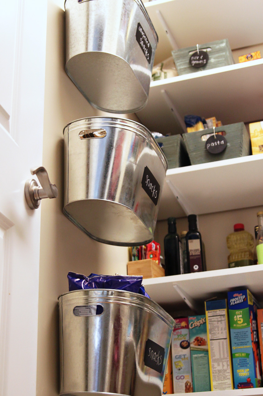 Metal bins for pantry organization via lilblueboo.com