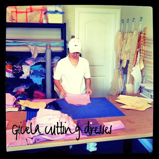Behind the scenes cutting dresses via lilblueboo.com