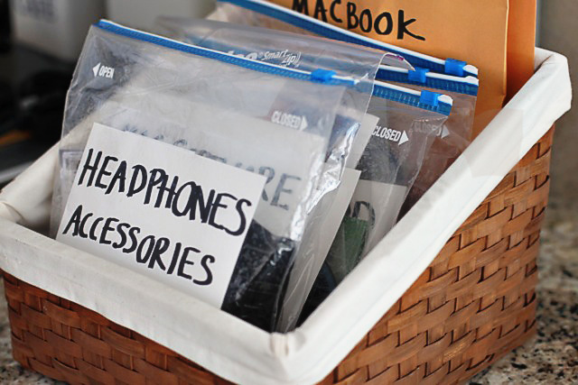 Tips for Organizing Household Electronics via lilblueboo.com