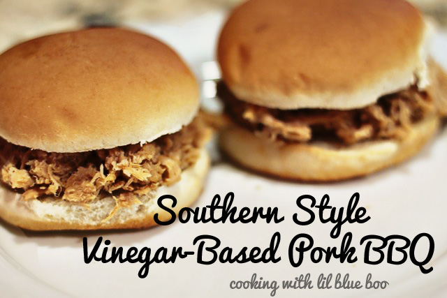 Slow Cooked Southern Style Vinegar Based Pork BBQ Recipe via lilblueboo.com