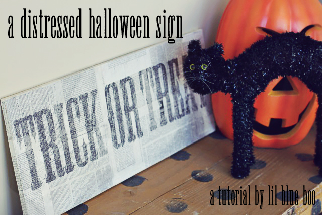 a distressed halloween sign diy tutorial via lilblueboo.com