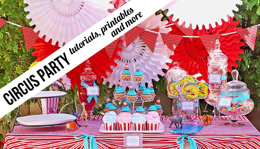 Free Candy Buffet Circus Party Theme Printables via lilblueboo.com