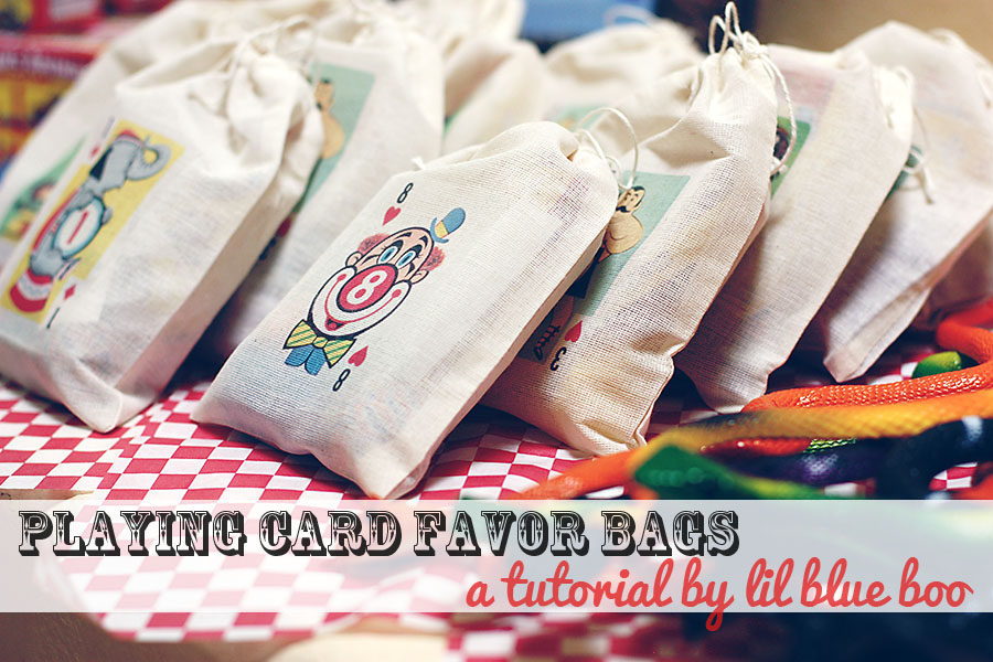 Circus playing card muslin party favor bag tutorial via lilblueboo.com