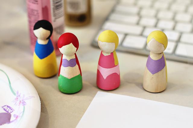 Make handpainted princess peg dolls via lilblueboo.com
